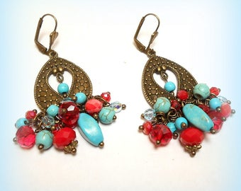 """Gypsy charms """"Composition ethnic Turquoise"""" earrings"""