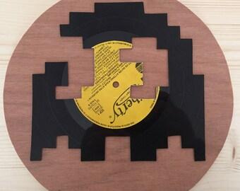 Vinyl cut on wood, Pacman ghost 25cm