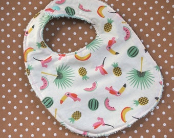 "Bib 0-24 months ""Tropical sweetness"" and toweling green stretch"