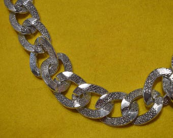 Large chain link hammered Silver 50 cm