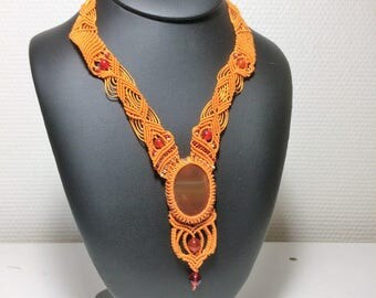 "Necklace ""dare to be"" carnelians and micromacrame"