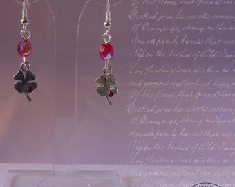 Clover silver and Crystal rhinestones - red and pink