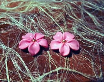 Pink dangle Flower Earrings polymer clay