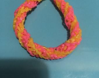 Spiral Rainbow Loom bracelet made of elastic