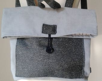 Cotton canvas backpack with roll-top closure