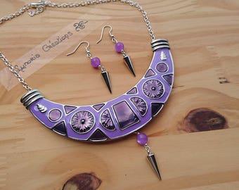 Ethnic adornment, mauve and purple bib