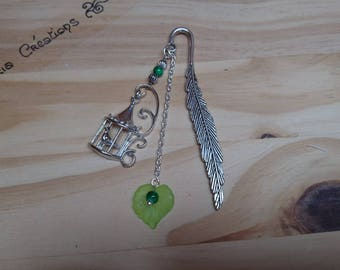 Bird, leaf and feather bookmark