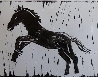 Black Foal lino print