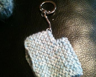Keychain is hand knitted wool poncho