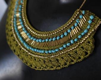 Ethnic chic crochet bib necklace