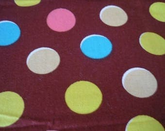 Brown fabric with multicolor polka dots - coupon 50x55cm