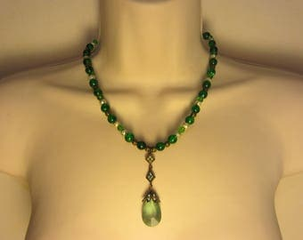 Necklace green and Bronze