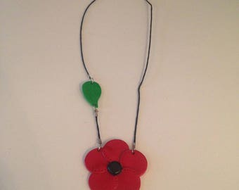 """Fimo necklace """"red flower and its little green leaf"""""""