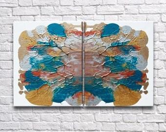 "RoR #8 Multi-Color Metallics Rorschach Wall Art Twin Canvas Set (8"" x 10"" each   total 16"" x 10"")"
