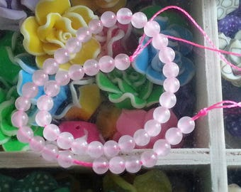 yarn 46 diameter 4 mm rose quartz beads, hole 1 mm