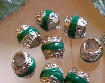1 spacer separator, alloy enamel European beads, large hole, drum, Platinum, green beads, 9 x 9 mm, hole: 5 mm