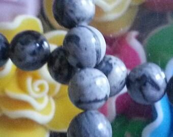 10 pearls of gray Jasper and 6mm diameter, hole 1 mm
