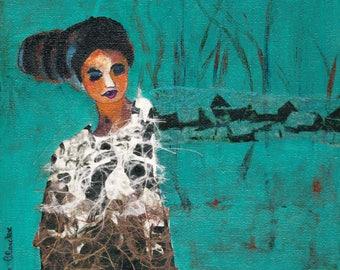 Hubertine portrait woman on canvas 20 x 20 cm