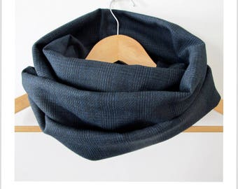 """snood scarf tube vintage """"I'm hot"""" prince of Wales pattern black and blue vintage fabric"""
