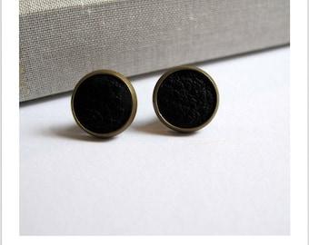 Stud Earrings black leather fabric