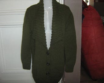 Cardigan hand knitted collar green t 38/40