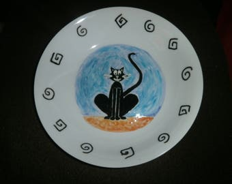 Black Cat hand painted porcelain soup plate blue and Brown glossy