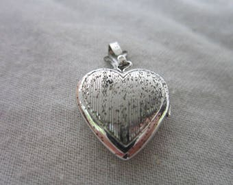 Antique Sterling Silver Engraved Photo Locket Necklace Pendant