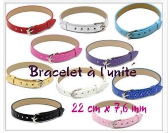 Bracelet 22 cm x 7.6 mm silver crocodile look leather individually