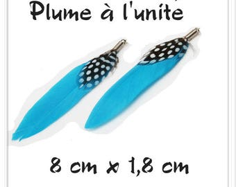 Turquoise black l ' single white feather pendant