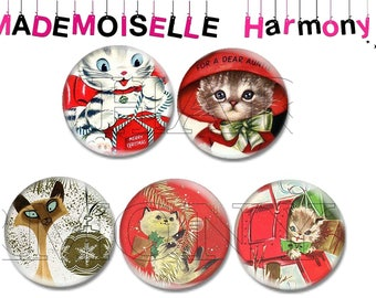 5 glass cabochons 20 mm cats Christmas size 20 mm cabochons