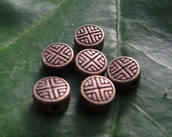 6 pieces spacer beads 0.6 cm Chinese double sided bronze Asian symbols