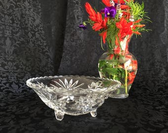Retro Anchor Hocking Prescut clear 3-footed bon bon bowl