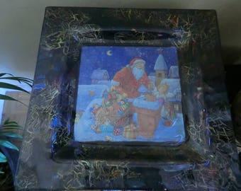 "Large square plate ""Santa"""