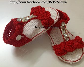 Christmas red beaded crochet baby sandal