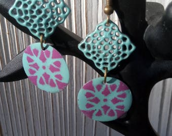 Earrings with turquoise and purple floral sequin