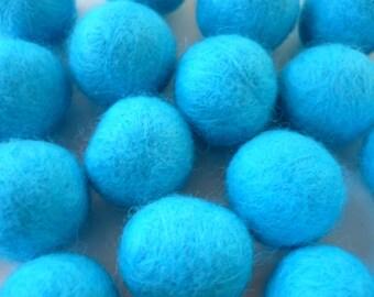 wool 20 mm bead, Pearl wool, felted wool bead, blue turquoise, Pearl, boiled wool