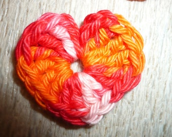 five hearts made crochet craft or sewing, applique heart, applique sewing applique crochet applique