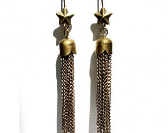 "Earrings ""Champagne"", stars and PomPoms/tassels with metal bronze"
