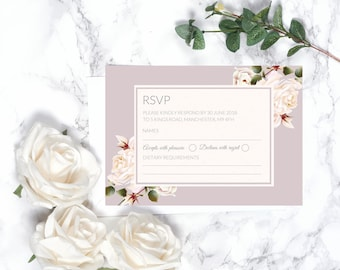 Floral Wedding RSVP Card – Personalised – A6
