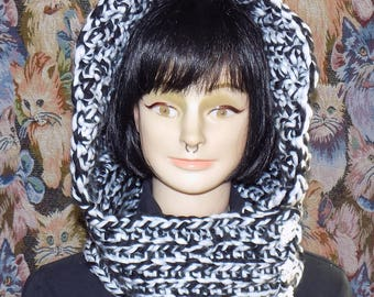 Cowl hood, Heather black and white with cat buttons.