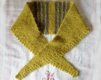 scarf, shawl, neck, French woman in yellow and Brown mohair shoulder-super warm and soft, warmer