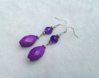 Purple and silver dangling earrings