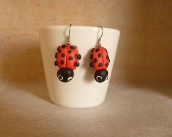 Earrings Ladybug.
