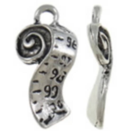 """Set of 5 charms """"Rules"""" color silver size 10 x 20 mm"""