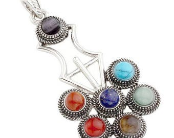 Antique silver plated - 7 chakra flower pendant
