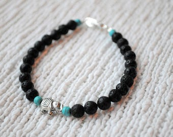 Lava stone and turquoise with little elephant bracelet