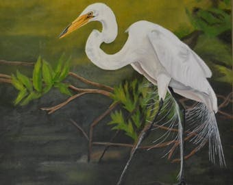 Egret - Print on Canvas