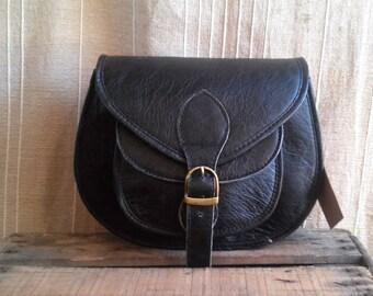 Black leather, round bag black shoulder leather woman shoulder bag, wallet Leather Brown woman, handmade.