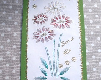 145 party good bunch of daisies embroidered greeting card