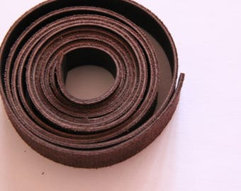 Cord flat leather, soft, chocolate, 13 mm, 20 cm special jewelry
